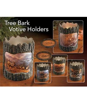 Tree Bark Candle Holder - Horses