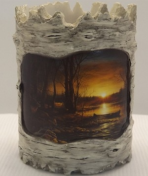 Tree Bark Candle Holder - Birch Line