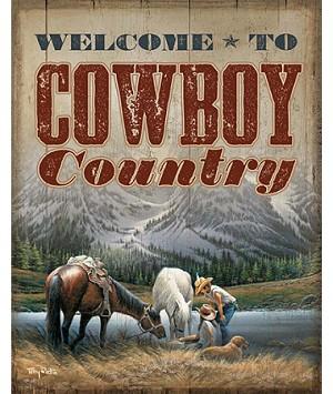 Terry Redlin Tin Sign - Cowboy Country